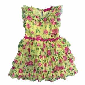 Betsey Johnson Floral Chiffon Tiered A-Line Dress